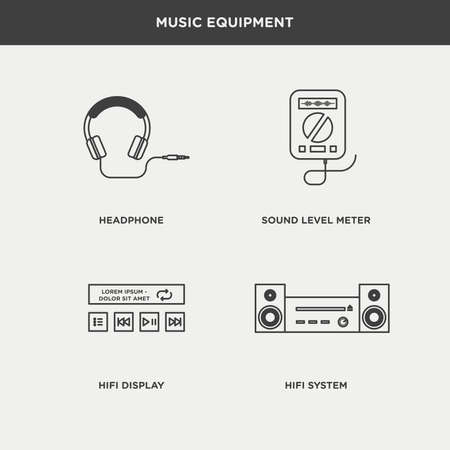 hi fi system: Set of beautiful minimal vector graphic icons of music equipments