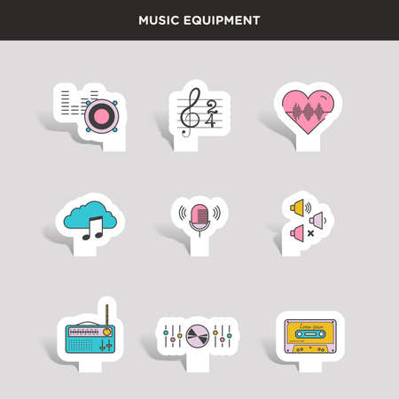 fm radio: Set of beautiful minimal vector graphic icons of music equipments