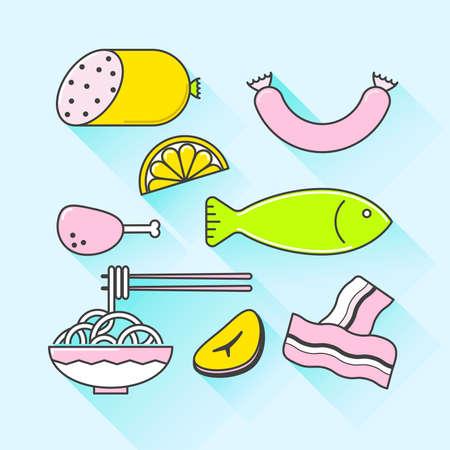 fiambres: Gráfico de vector conjunto de iconos de alimentos preparados con una larga sombra