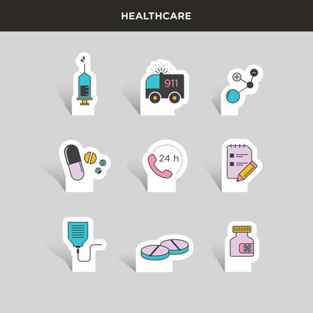 medical supplies: Vector graphic colored icon sticker set of medical supplies and healthcare