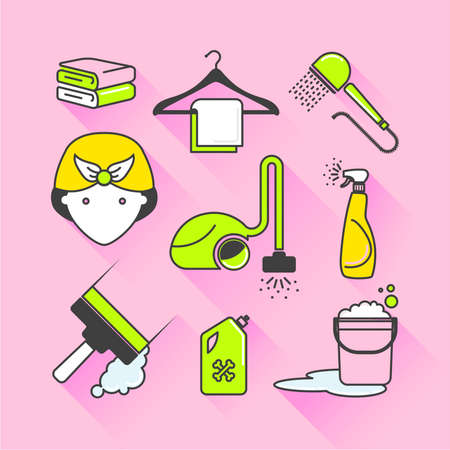 limescale: Vector graphic icon sticker set of cleaning and housekeeping with long shadow