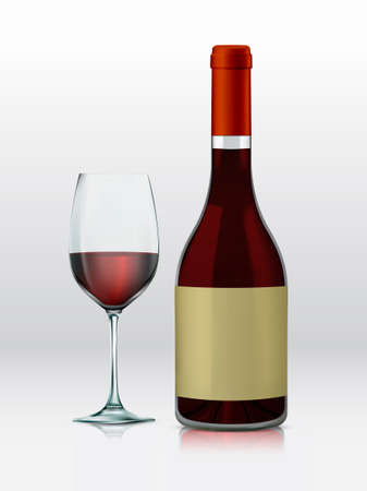 vino: Realistic vector graphic bottle and glass with red wine