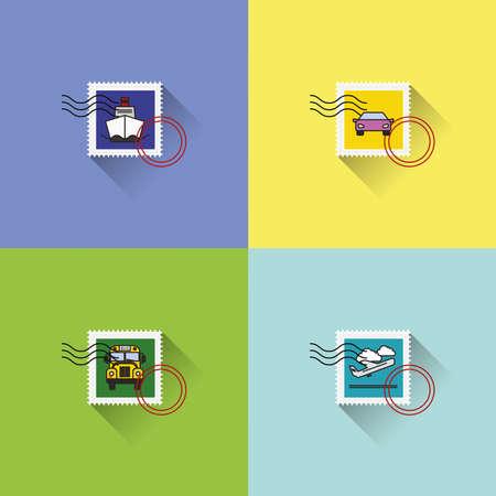 stamp: Colecci�n de diferentes sellos en tema de viaje
