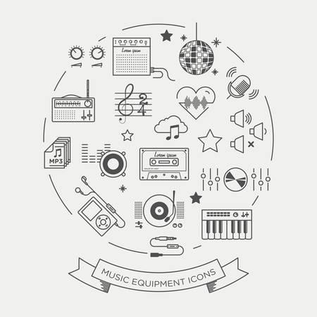 clave de fa: Conjunto de iconos gráficos vectoriales hermosas mínimo de equipos de música Vectores