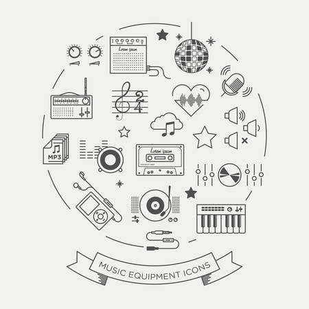 fm radio: Set of beautiful minimal vector graphic icons of music equipments