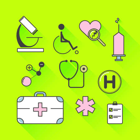controll: Vector graphic icon set of medical supplies and healthcare with long shadow Illustration