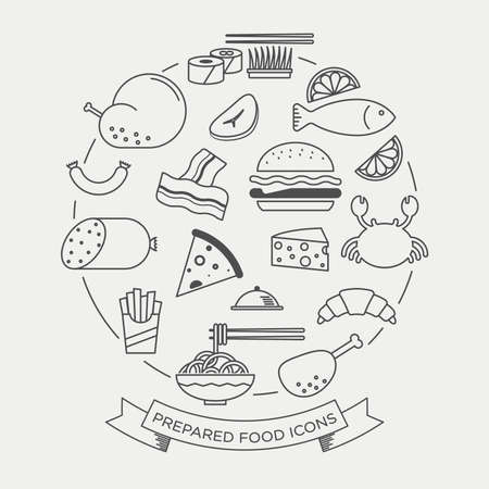 continental food: Vector graphic icon sticker set of prepared food Illustration