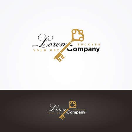 secret identities: Illustration of a golden key symbol for your company Illustration