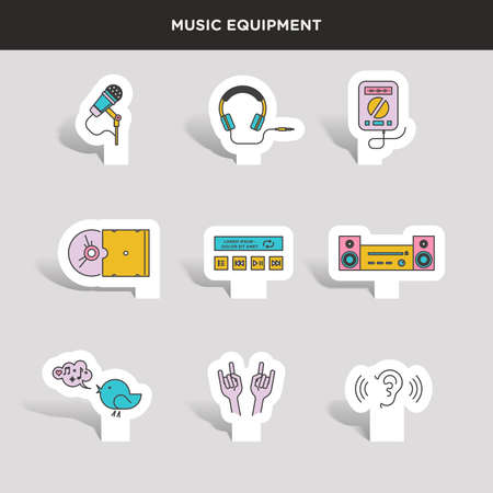 dj headphones: Set of beautiful minimal vector graphic icons of music equipments