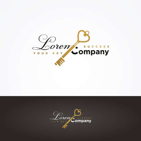 secret identities: Illustration of a golden key symbol for your company Illustration