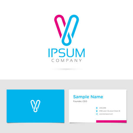 letter of the alphabet: Business card design with typographic symbol in two colors Illustration