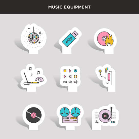 Set of beautiful minimal vector graphic icons of music equipments