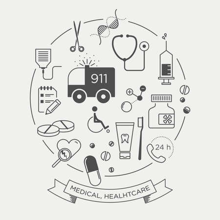 controll: Vector graphic icon set of medical supplies and healthcare Illustration