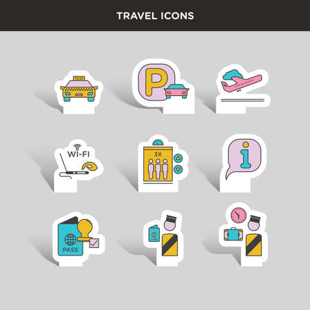 tagging: Vector graphic colored icon sticker set of traveling and airport