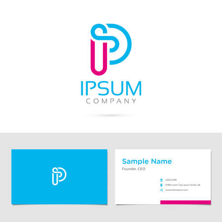 alphabet letters: Business card design with typographic symbol in two colors Illustration