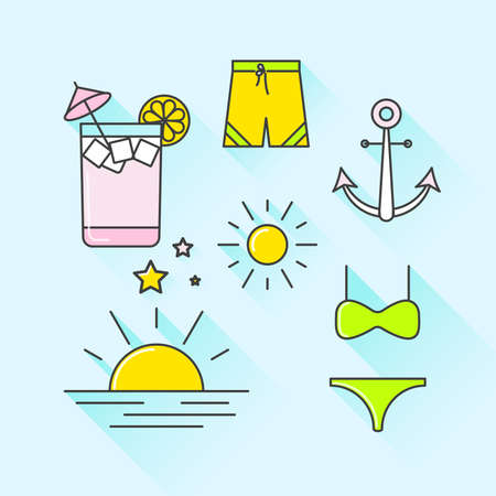 sunset beach: Vector graphic icon set of summer and holiday with long shadow Illustration