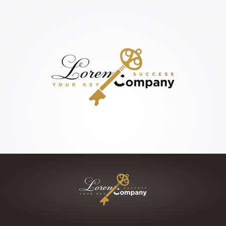 gold keyhole: Illustration of a golden key symbol for your company Illustration
