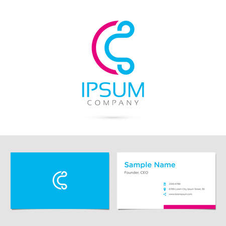 c design: Business card design with typographic symbol in two colors Illustration