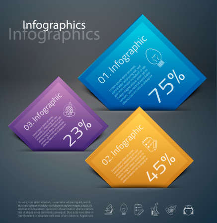 vibrant colors: Vector graphic abstract info-graphics with icons in vibrant colors Illustration