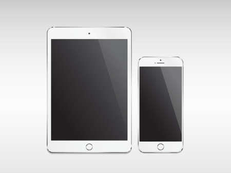 Realistic modern tablet and phone with empty screen on white background Illustration
