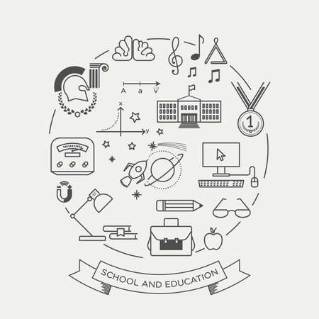 graduated: Vector graphic icon sticker set of school and education Illustration