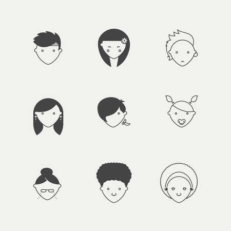 Different kinds of people in minimal iconic style Illustration