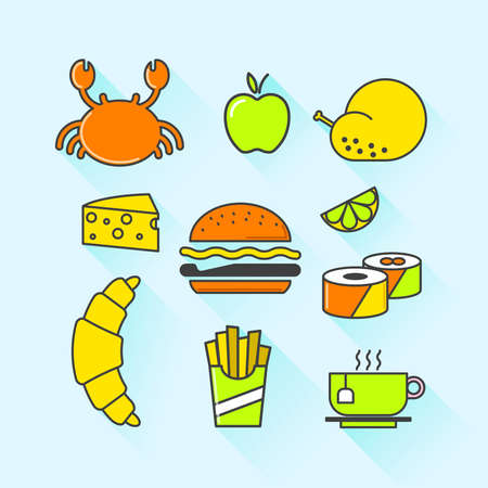 continental food: Vector graphic icon set of prepared food with long shadow