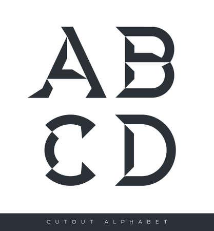 lettres alphabet: Alphabet typographique avec des ombres nettes avec un exemple de texte sur fond isol� Illustration