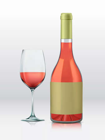 clip art wine: Realistic vector graphic bottle and glass with rose wine