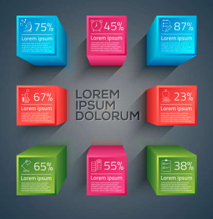 involving: Vector graphic abstract info-graphics with icons in vibrant colors Illustration