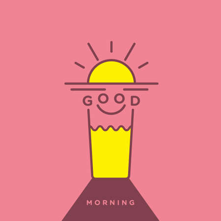 morning sun: Funny and cheerful icon illustration of mixed objects
