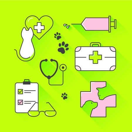 zoological: Vector graphic icon set of vet and pet supplies with long shadow Illustration