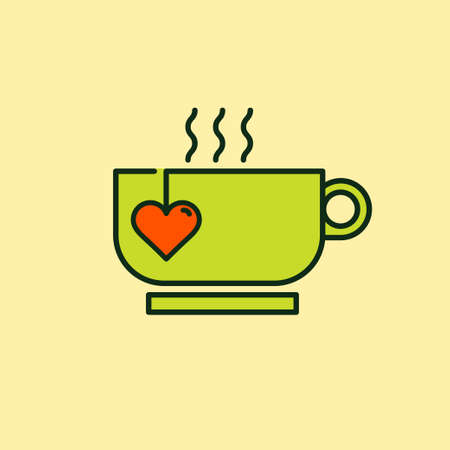 steam of a leaf: Funny and cheerful icon illustration of mixed objects