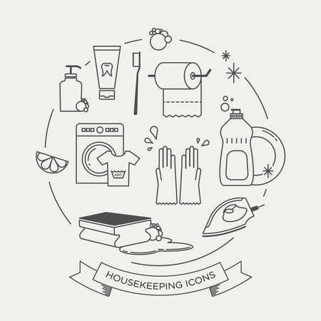 Vector graphic icon set of cleaning and housekeeping