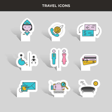 baggage: Vector graphic colored icon sticker set of traveling and airport