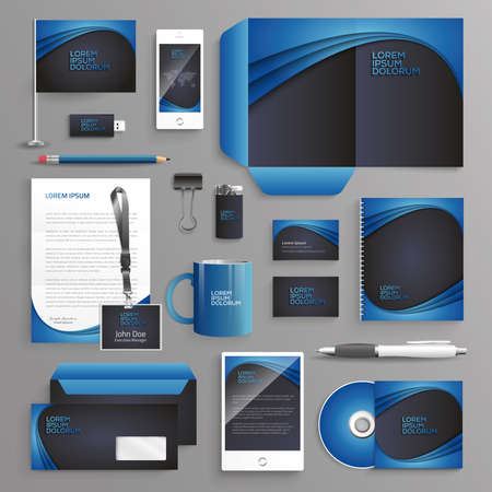 Vector graphic professional identity design for your company in vibrant colors Ilustrace
