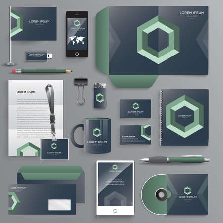 stationary set: Vector graphic professional identity design for your company in vibrant colors Illustration