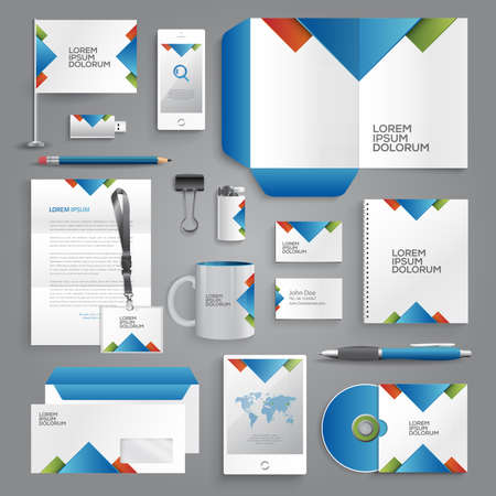 stationary: Vector graphic professional identity design for your company in vibrant colors Illustration