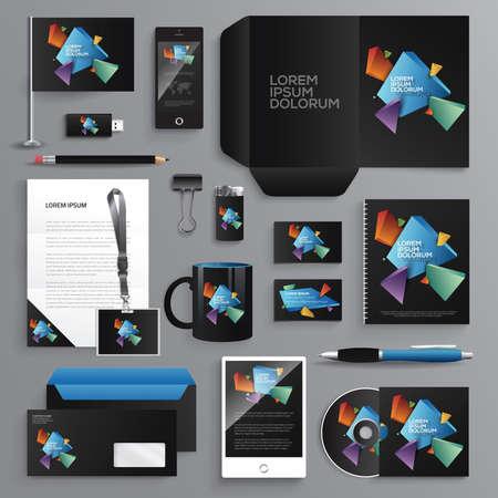 Vector graphic professional identity design for your company in vibrant colors Ilustração