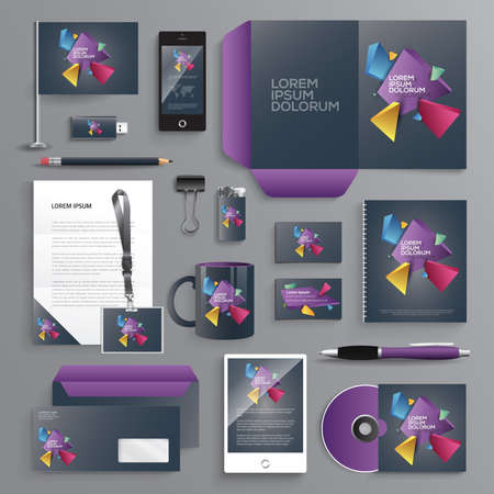Vector graphic professional identity design for your company in vibrant colors Illustration