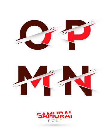 samourai: Graphique de vecteur samoura�s th�me coup� alphabet dans un ensemble