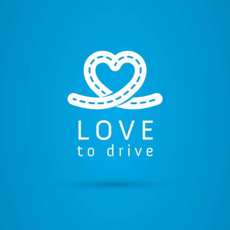 silhouette voiture: Vecteur symbole graphique route  coeur de la conduite avec le texte de l'échantillon pour votre entreprise