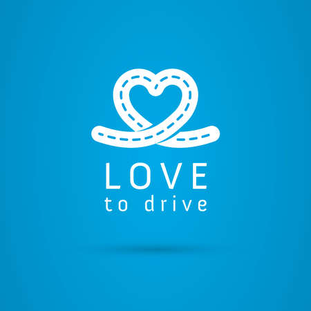 dashed line: Vector graphic road  heart symbol about driving with sample text for your company Illustration