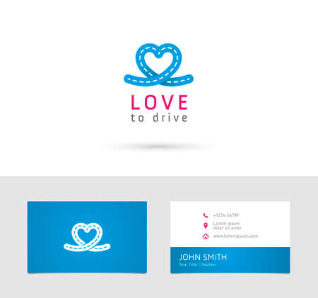 school icon: Vector graphic road  heart symbol about driving with sample text for your company Illustration
