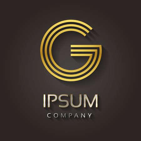 Vector grafische gestreepte gouden alfabet met voorbeeldtekst voor uw brief bedrijf - G