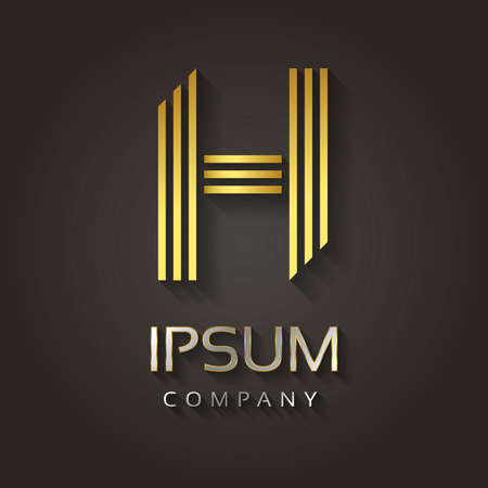 s c u b a: Vector graphic striped golden alphabet with sample text for your company letter - H