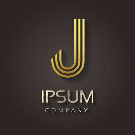 Vector grafische gestreepte gouden alfabet met voorbeeld tekst voor uw bedrijf letter - J Stock Illustratie