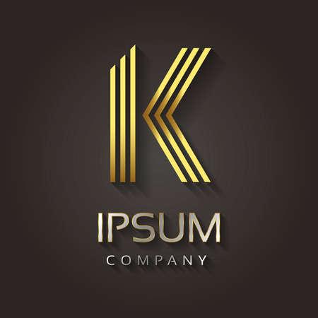 lettre alphabet: L'image vectorielle alphabet rayé d'or avec un exemple de texte de votre lettre de l'entreprise - K