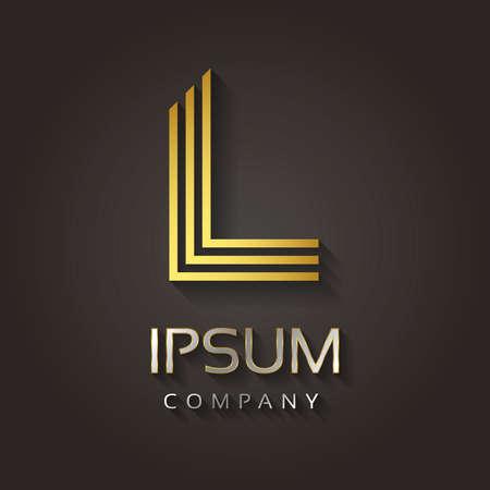dorado: Gráficos vectoriales rayas alfabeto de oro con texto de ejemplo para su carta de la compañía - L