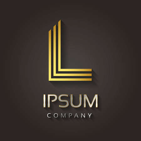 Vector grafische gestreepte gouden alfabet met voorbeeld tekst voor uw bedrijf letter - L